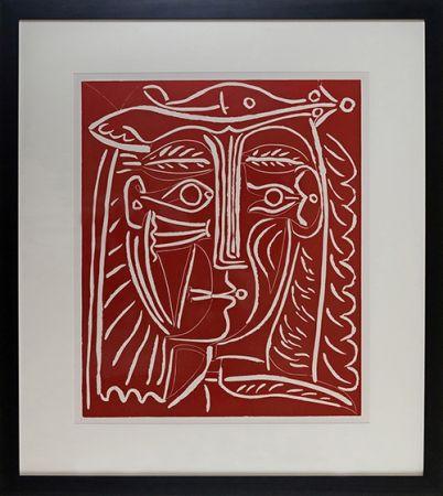 Linograbado Picasso - Tete De Femme Au Chapeau, Paysage Avec Baigneurs