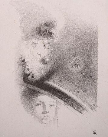 Litografía Redon - Tete d'enfant, de face....