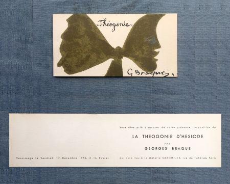 Litografía Braque - THÉOGONIE. Carton d'invitation au vernissage Galerie Maeght. 1954