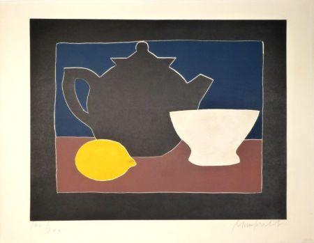 Aguatinta Mumprecht - Théière, bol et citron