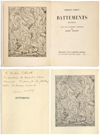 Libro Ilustrado Masson - Thérèse Aubray : BATTEMENTS. 1/35 avec la gravure d'André Masson (Paris, 1933).