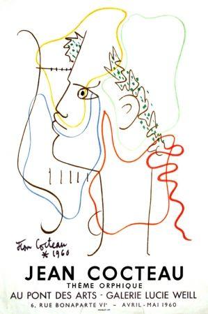 Litografía Cocteau - Thême Orphique Galerie Lucie Weill