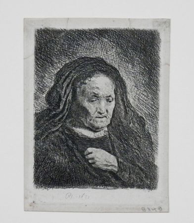 Grabado Rembrandt - The artist's mother with her hand on her chest