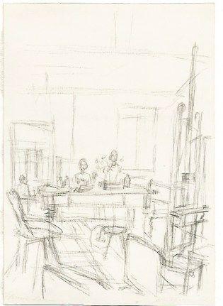 Litografía Giacometti - The Artist's Studio