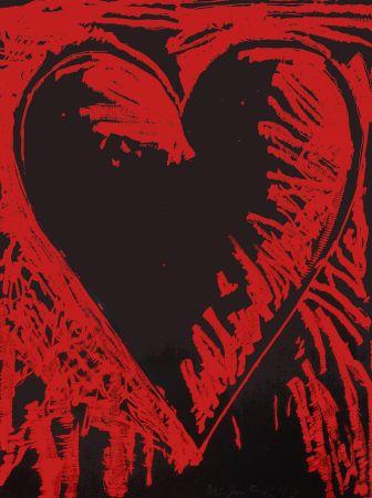 Grabado En Madera Dine - The Black and Red Heart