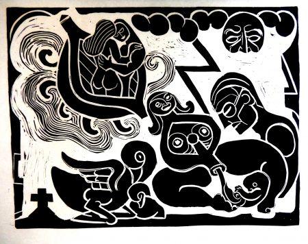 Linograbado Heerup - The Boat of Love