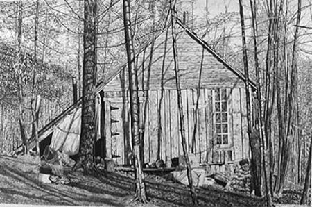 Litografía Levine - The Brookwood Cabin