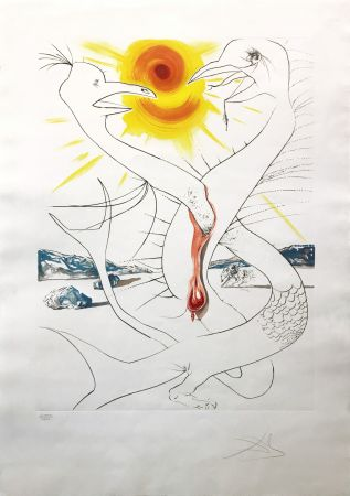 Aguafuerte Dali - THE CADUSEUS OF MARS NOURISHED BY THE BALL OF FIRE OF JUPITER