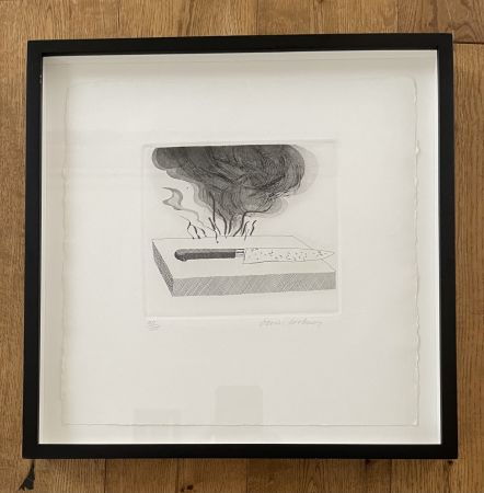 Aguafuerte Y Aguatinta Hockney - The Carpenter's Bench, a Knife and Fire (