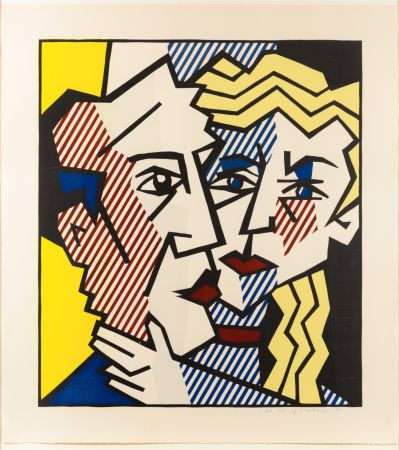 Grabado En Madera Lichtenstein - The Couple, From The Expressionist Woodcut Series