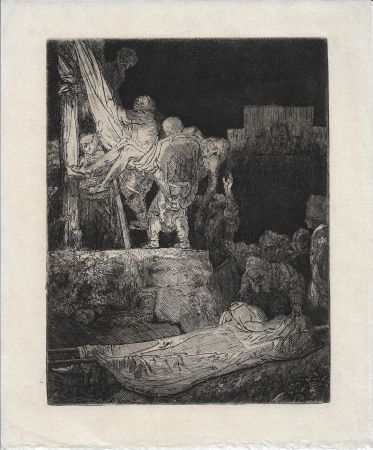 Grabado Rembrandt - The Descent from the Cross by Torchlight
