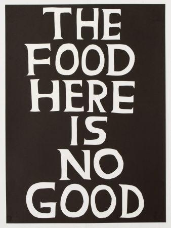 Linograbado Shrigley - The food here is no good
