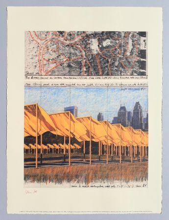 Litografía Christo - 'The Gates, project for Central Park New York City