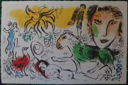 Litografía Chagall - The green horse