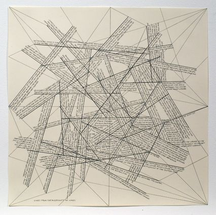 Grabado Lewitt - The Location of Lines. Lines from the Midpoints of Lines.