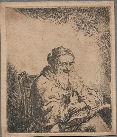 Grabado Bol - The Old Man with a Leaf of Trefoil on His Coat