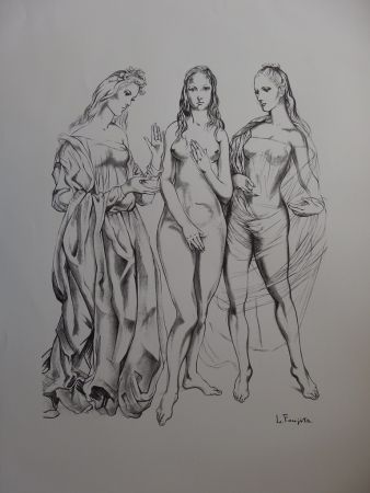 Litografía Foujita - The Three Graces
