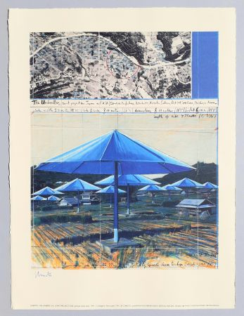 Litografía Christo - The umbrellas, joint project for Japan and USA