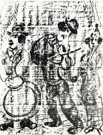 Litografía Chagall - The Wandering Musicians