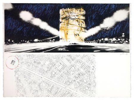 Litografía Christo - The wrapping of l'Arc de Triumph (l'empaquement de l'Arc de Triomphe)