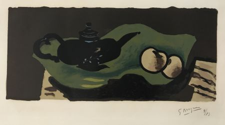 Litografía Braque - Theiere et Pommes