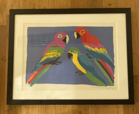 Linograbado Ting - Three Parrots