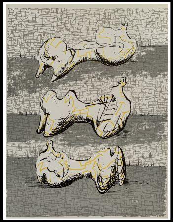 Litografía Moore - Three Reclining Figures