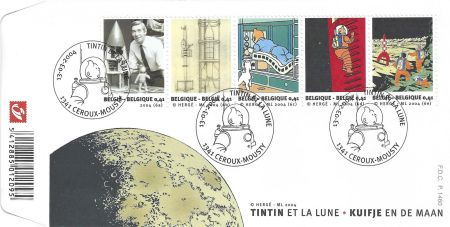 Talla En Madera Rémi - Tintin et la Lune - First Day Covers