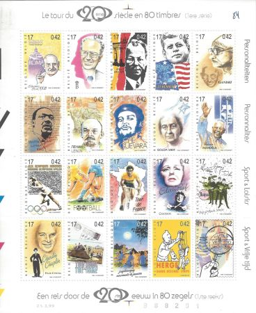 Talla En Madera Rémi - Tintin Le Tour du 20ème siècle en 80 timbres