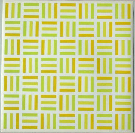 Serigrafía Morellet - Tirets jaunes,jaunes-verts,jaunes orange