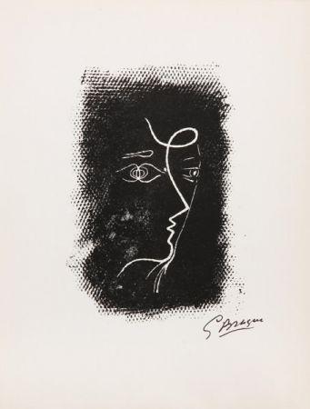 Litografía Braque - Title: Profil de Femme from Souvenirs de Portraits d'Artistes. Jacques Prévert: Le Coeur à l'ouvrage (M.25)