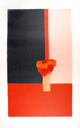 Litografía Cathelin - Tokonoma rouge et noir - Red and black Tokonoma