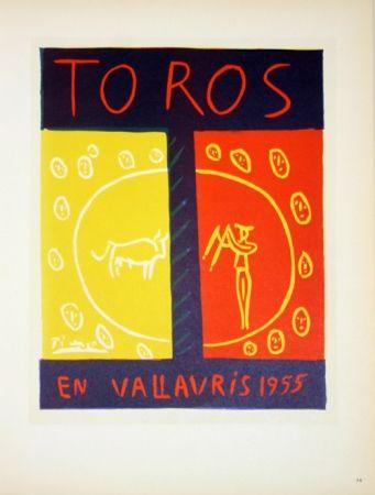 Litografía Picasso - Toros en Vallauris