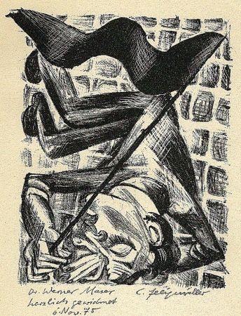 Litografía Felixmuller  - Toter Genosse