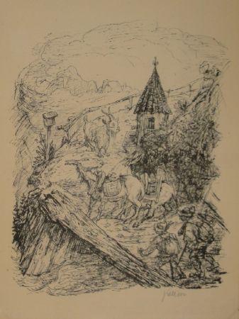 Litografía Kubin - Transport im Gebirge