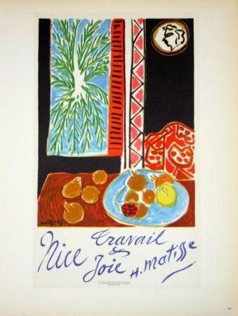 Litografía Matisse - Travail et Joie  Nice 1948