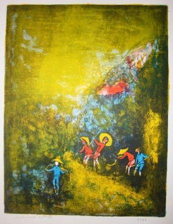 Litografía Lebadang - Travaux au champ