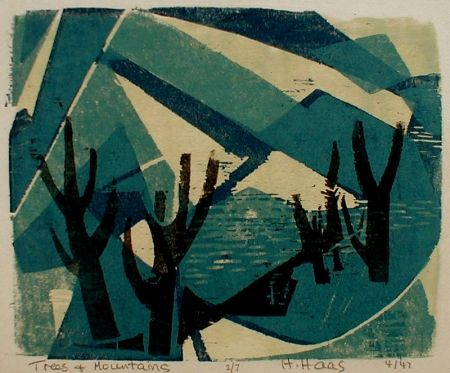 Grabado En Madera Haas - Trees and Mountains