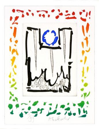 Aguafuerte Alechinsky - Triade bleue