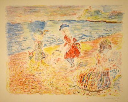 Litografía Terechkovich - Trois enfants sur une plage / Drei spielende Mädchen am Strand