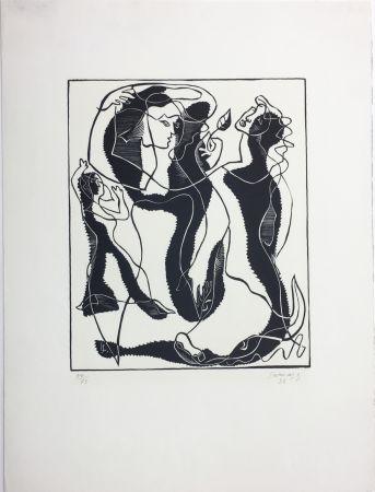 Grabado En Madera Survage - Trois Femmes (Paris, 1933)