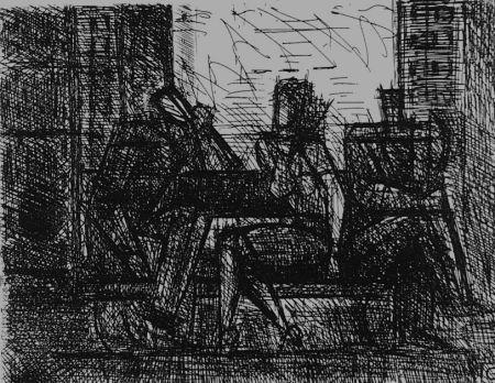 Aguafuerte Gromaire - Trois personnages sur un banc