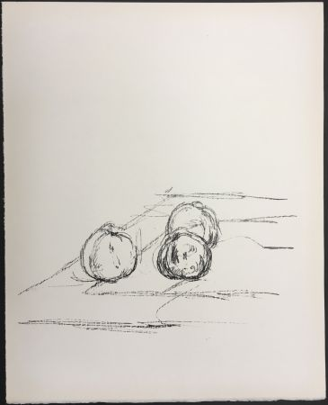 Litografía Giacometti - TROIS POMMES (Three apples). 1961. Lithographie originale