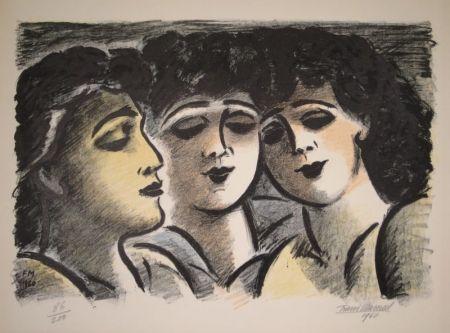 Litografía Masereel - Trois visages