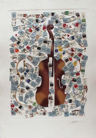 Grabado Arman - Tubes et violin