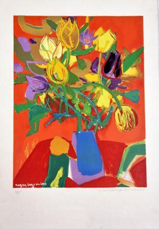 Litografía Bezombes - Tulipes