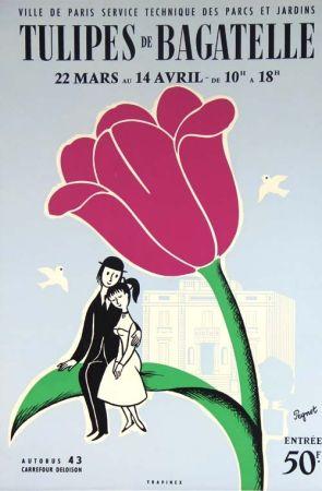 Litografía Peynet - Tulipes de Bagatelle
