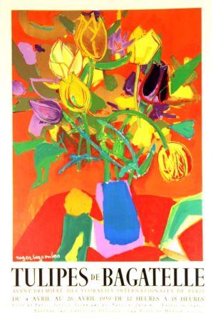 Litografía Bezombes - Tulipes de Bagatelle