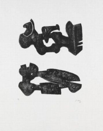 Litografía Moore - Two black forms