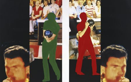 Litografía Baldessari - Two bowlers (with questioning person)